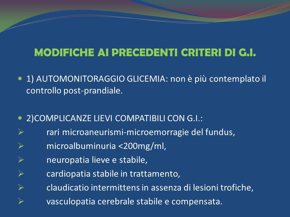 MODIFICHE AI PRECEDENTI CRITERI DI G.I.
