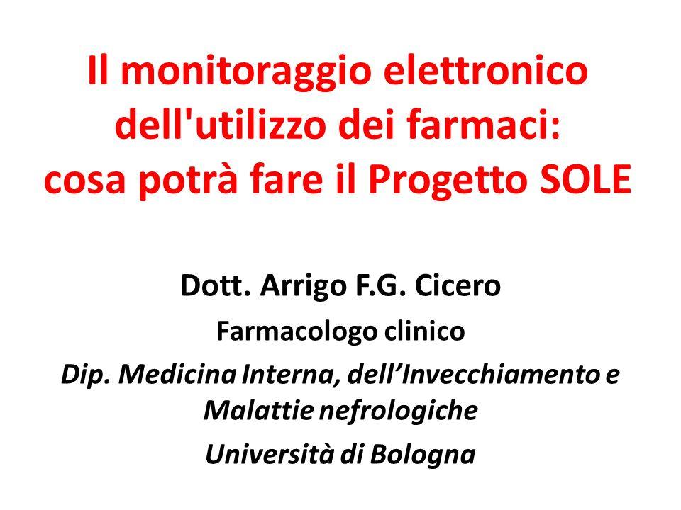 Dott. Arrigo F.G. Cicero Farmacologo clinico Dip. Medicina Interna, dellInvecchiamento e Malattie nefrologiche Università di Bologna Il monitoraggio e