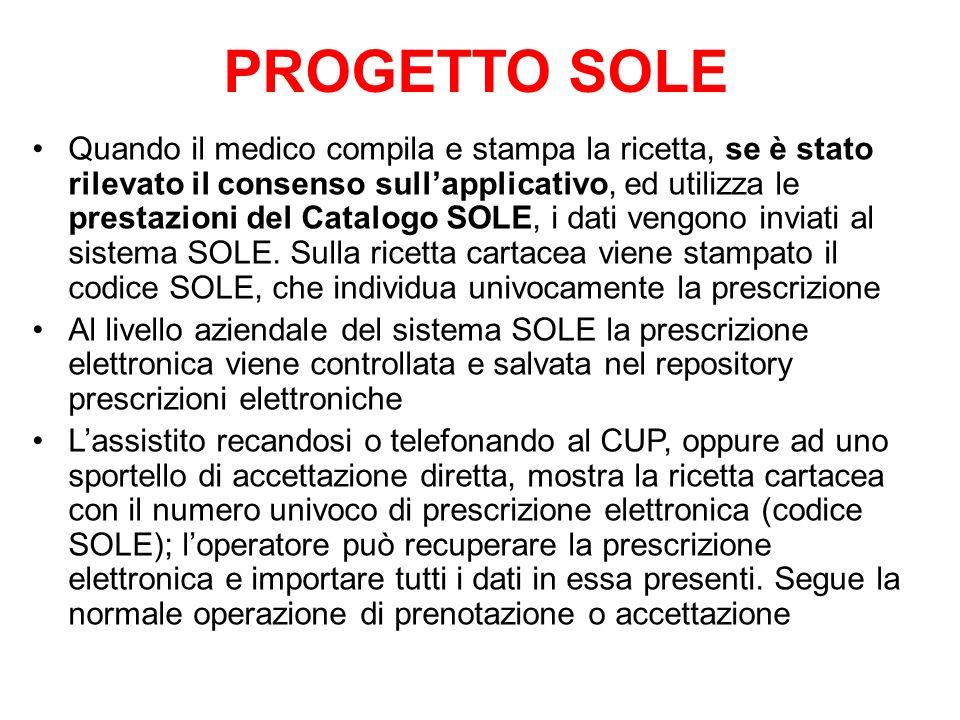 Quando il medico compila e stampa la ricetta, se è stato rilevato il consenso sullapplicativo, ed utilizza le prestazioni del Catalogo SOLE, i dati ve