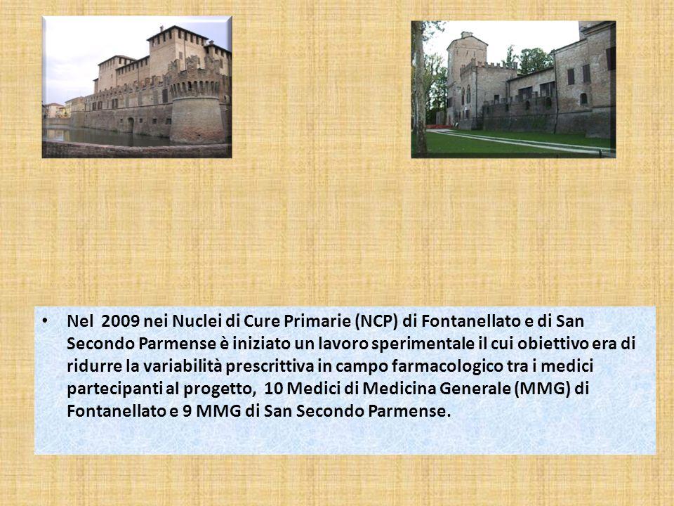 Nel 2009 nei Nuclei di Cure Primarie (NCP) di Fontanellato e di San Secondo Parmense è iniziato un lavoro sperimentale il cui obiettivo era di ridurre la variabilità prescrittiva in campo farmacologico tra i medici partecipanti al progetto, 10 Medici di Medicina Generale (MMG) di Fontanellato e 9 MMG di San Secondo Parmense.