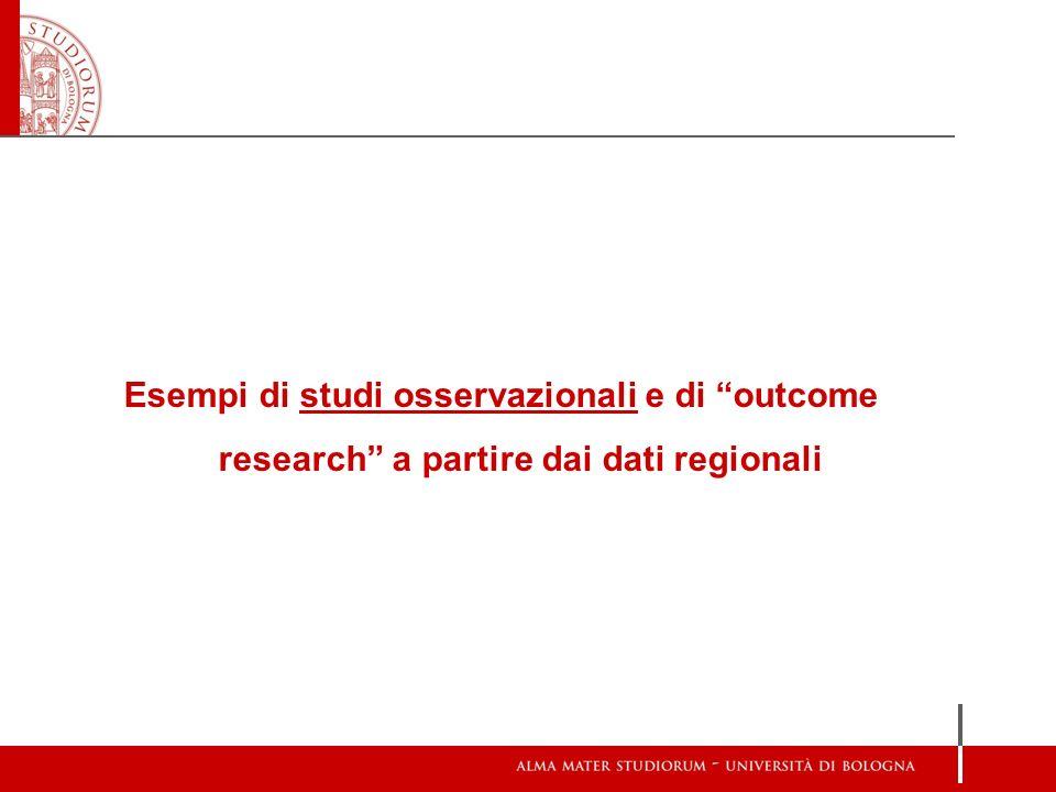 Esempi di studi osservazionali e di outcome research a partire dai dati regionali