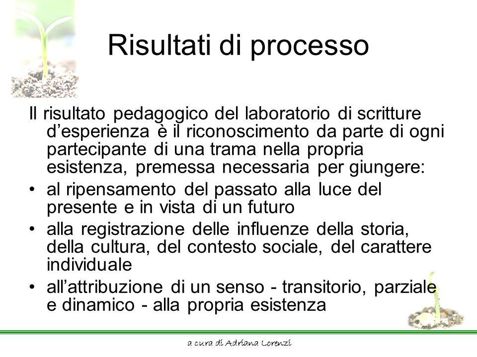 a cura di Adriana Lorenzi Risultati di processo Il risultato pedagogico del laboratorio di scritture desperienza è il riconoscimento da parte di ogni