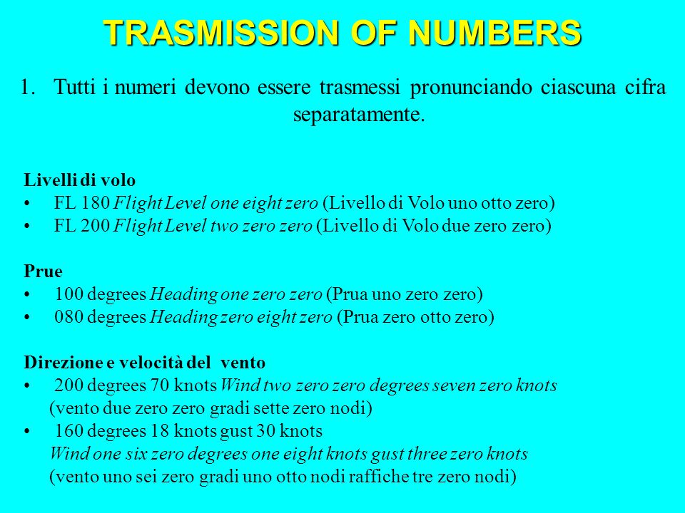 Livelli di volo FL 180 Flight Level one eight zero (Livello di Volo uno otto zero) FL 200 Flight Level two zero zero (Livello di Volo due zero zero) Prue 100 degrees Heading one zero zero (Prua uno zero zero) 080 degrees Heading zero eight zero (Prua zero otto zero) Direzione e velocità del vento 200 degrees 70 knots Wind two zero zero degrees seven zero knots (vento due zero zero gradi sette zero nodi) 160 degrees 18 knots gust 30 knots Wind one six zero degrees one eight knots gust three zero knots (vento uno sei zero gradi uno otto nodi raffiche tre zero nodi) 1.Tutti i numeri devono essere trasmessi pronunciando ciascuna cifra separatamente.