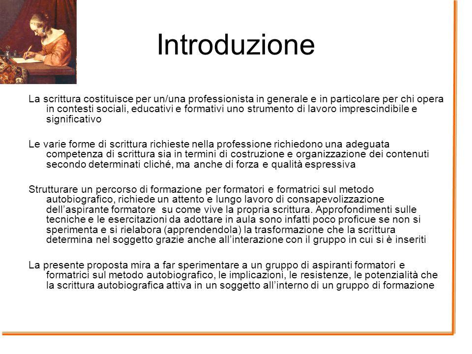 Introduzione La scrittura costituisce per un/una professionista in generale e in particolare per chi opera in contesti sociali, educativi e formativi