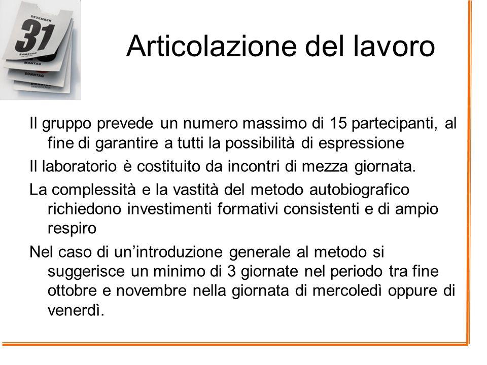 Articolazione del lavoro Il gruppo prevede un numero massimo di 15 partecipanti, al fine di garantire a tutti la possibilità di espressione Il laborat
