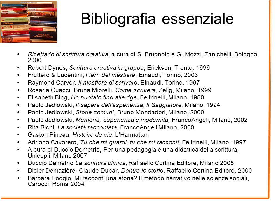 Bibliografia essenziale Ricettario di scrittura creativa, a cura di S. Brugnolo e G. Mozzi, Zanichelli, Bologna 2000 Robert Dynes, Scrittura creativa