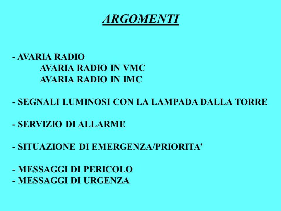 - AVARIA RADIO AVARIA RADIO IN VMC AVARIA RADIO IN IMC - SEGNALI LUMINOSI CON LA LAMPADA DALLA TORRE - SERVIZIO DI ALLARME - SITUAZIONE DI EMERGENZA/P