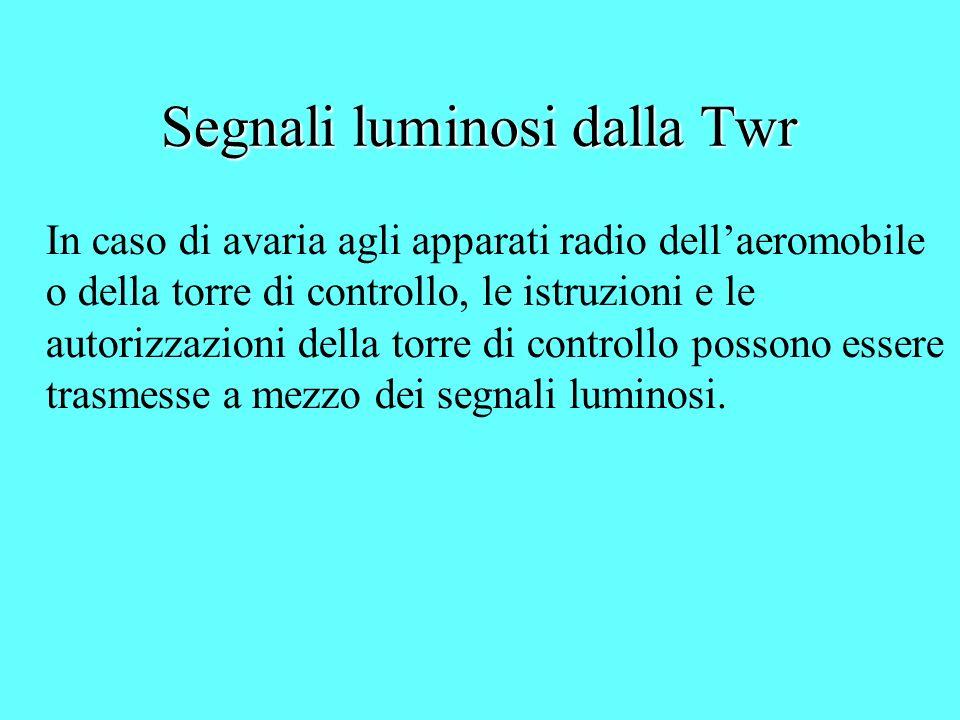 Segnali luminosi dalla Twr In caso di avaria agli apparati radio dellaeromobile o della torre di controllo, le istruzioni e le autorizzazioni della to