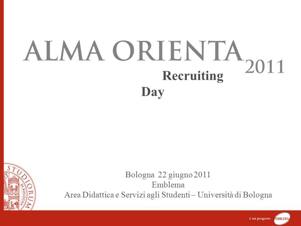 Recruiting Day Bologna 22 giugno 2011 Emblema Area Didattica e Servizi agli Studenti – Università di Bologna