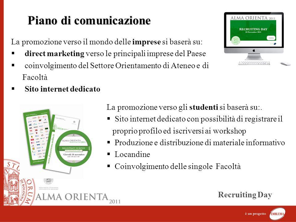 La promozione verso il mondo delle imprese si baserà su: direct marketing verso le principali imprese del Paese coinvolgimento del Settore Orientament