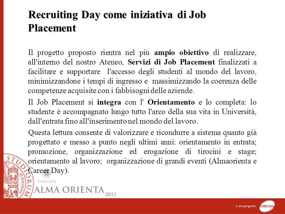 Recruiting Day come iniziativa di Job Placement Il progetto proposto rientra nel più ampio obiettivo di realizzare, all'interno del nostro Ateneo, Ser