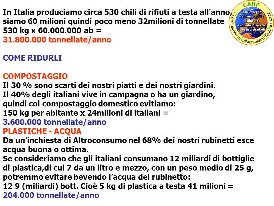 In Italia produciamo circa 530 chili di rifiuti a testa all'anno, siamo 60 milioni quindi poco meno 32milioni di tonnellate 530 kg x 60.000.000 ab = 3