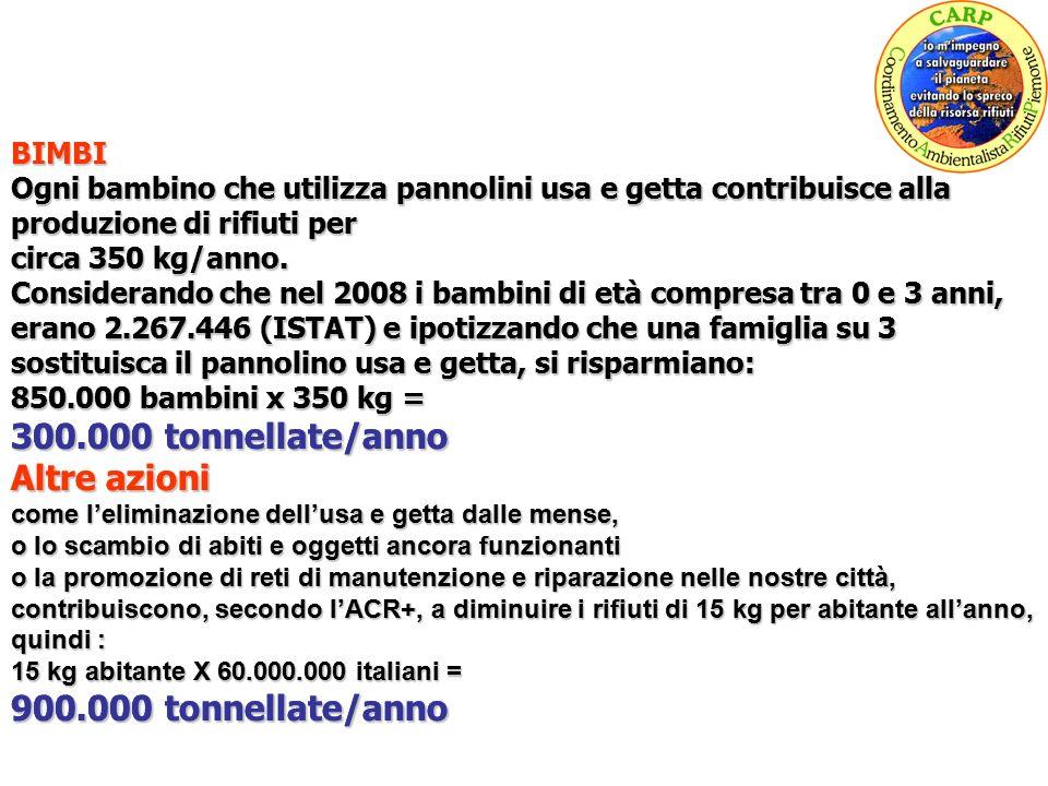 BIMBI Ogni bambino che utilizza pannolini usa e getta contribuisce alla produzione di rifiuti per circa 350 kg/anno.