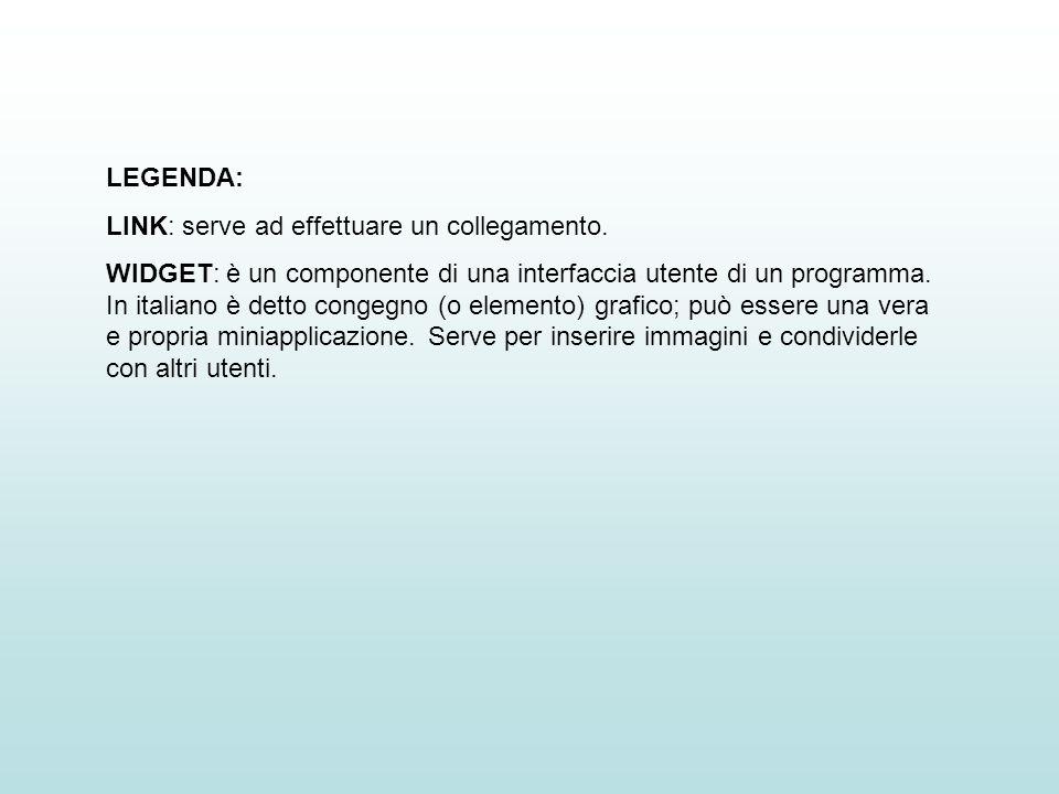 LEGENDA: LINK: serve ad effettuare un collegamento. WIDGET: è un componente di una interfaccia utente di un programma. In italiano è detto congegno (o