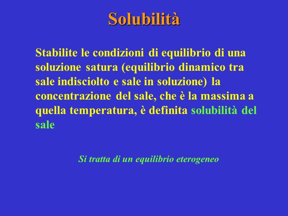 Solubilità Stabilite le condizioni di equilibrio di una soluzione satura (equilibrio dinamico tra sale indisciolto e sale in soluzione) la concentrazione del sale, che è la massima a quella temperatura, è definita solubilità del sale Si tratta di un equilibrio eterogeneo