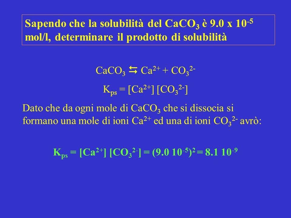 CaCO 3 Ca 2+ + CO 3 2- K ps = [Ca 2+ ] [CO 3 2- ] Dato che da ogni mole di CaCO 3 che si dissocia si formano una mole di ioni Ca 2+ ed una di ioni CO 3 2- avrò: K ps = [Ca 2+ ] [CO 3 2- ] = (9.0 10 -5 ) 2 = 8.1 10 -9 Sapendo che la solubilità del CaCO 3 è 9.0 x 10 -5 mol/l, determinare il prodotto di solubilità