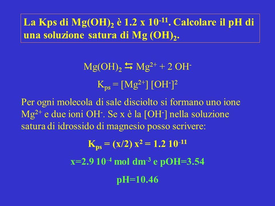 Mg(OH) 2 Mg 2+ + 2 OH - K ps = [Mg 2+ ] [OH - ] 2 Per ogni molecola di sale disciolto si formano uno ione Mg 2+ e due ioni OH -.