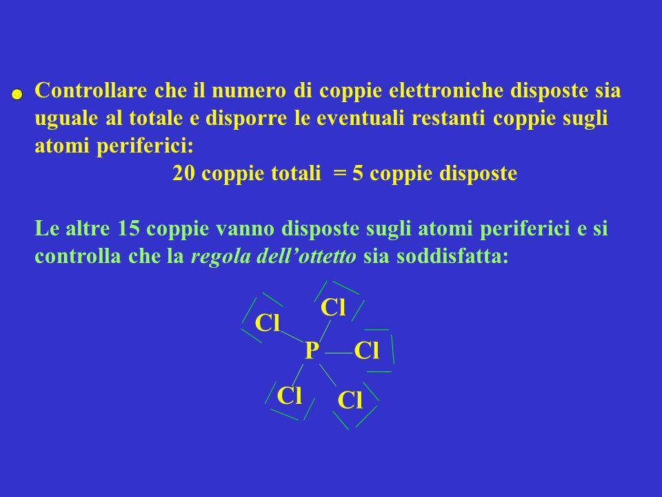 Controllare che il numero di coppie elettroniche disposte sia uguale al totale e disporre le eventuali restanti coppie sugli atomi periferici: 20 copp