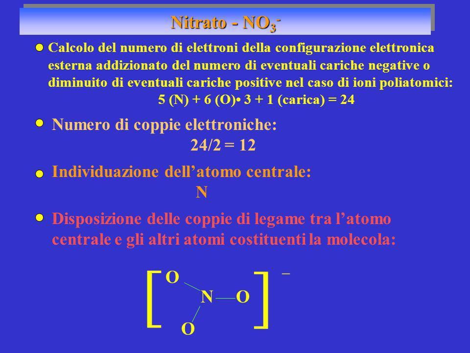 Nitrato - NO 3 - Numero di coppie elettroniche: 24/2 = 12 Individuazione dellatomo centrale: N NO O O Disposizione delle coppie di legame tra latomo c