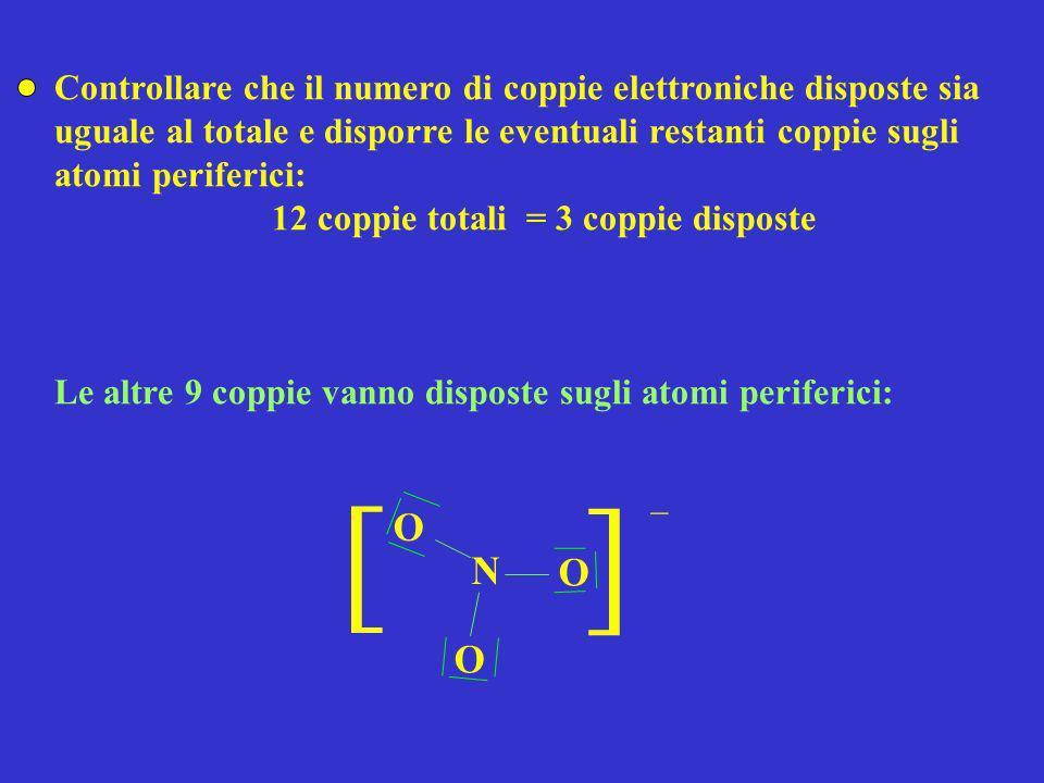 Controllare che il numero di coppie elettroniche disposte sia uguale al totale e disporre le eventuali restanti coppie sugli atomi periferici: 12 copp
