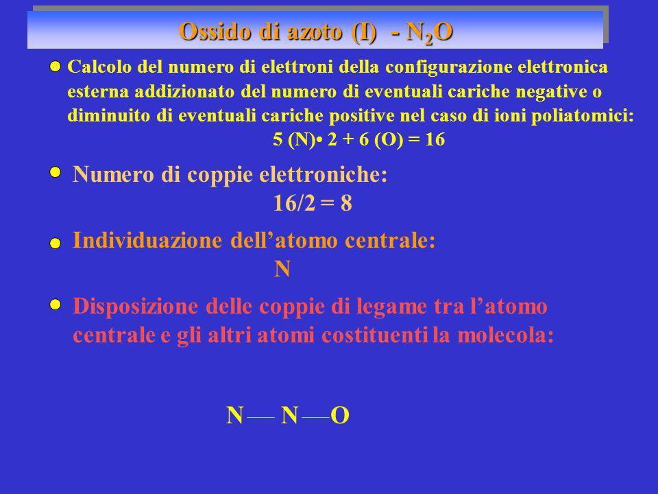 Ossido di azoto (I) - N 2 O Numero di coppie elettroniche: 16/2 = 8 Individuazione dellatomo centrale: N NON Disposizione delle coppie di legame tra l