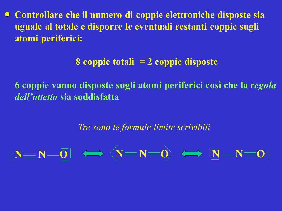 Controllare che il numero di coppie elettroniche disposte sia uguale al totale e disporre le eventuali restanti coppie sugli atomi periferici: 8 coppi