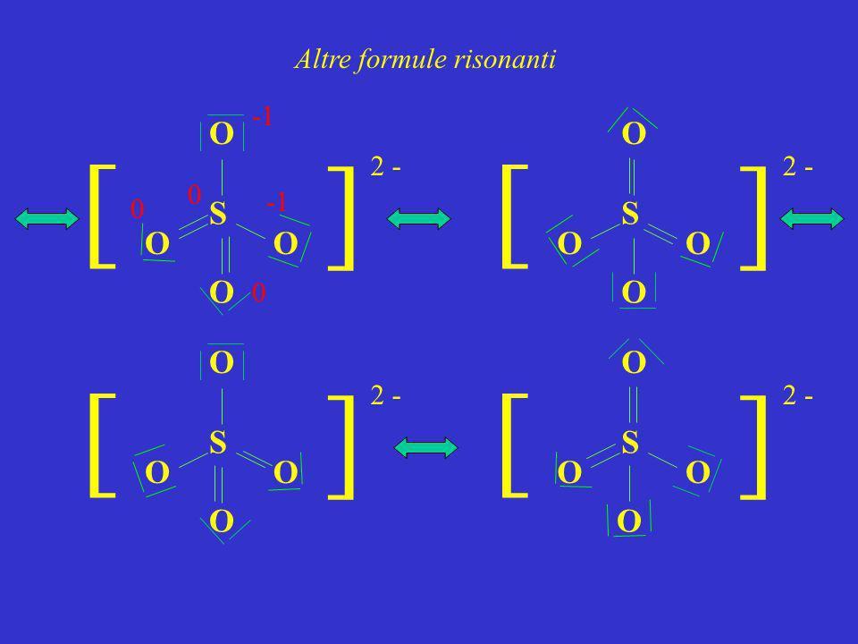 Altre formule risonanti S O O O ] ] 2 - O S O O O ] ] O S O O O ] ] O S O O O ] ] O 0 0 0