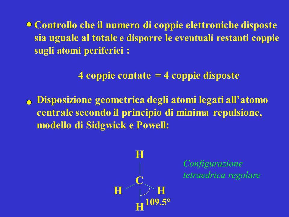 Ammoniaca - NH 3 Numero di coppie elettroniche: 8/2 = 4 Individuazione dellatomo centrale: N N H H H Disposizione delle coppie di legame tra latomo centrale e gli altri atomi costituenti la molecola: Calcolo del numero di elettroni della configurazione elettronica esterna addizionato del numero di eventuali cariche negative o diminuito di eventuali cariche positive nel caso di ioni poliatomici: 5 (N) + 1 (H) 3 = 8