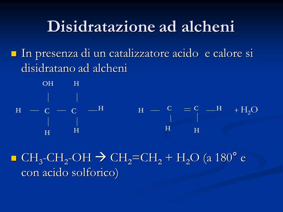 Disidratazione ad alcheni In presenza di un catalizzatore acido e calore si disidratano ad alcheni In presenza di un catalizzatore acido e calore si d