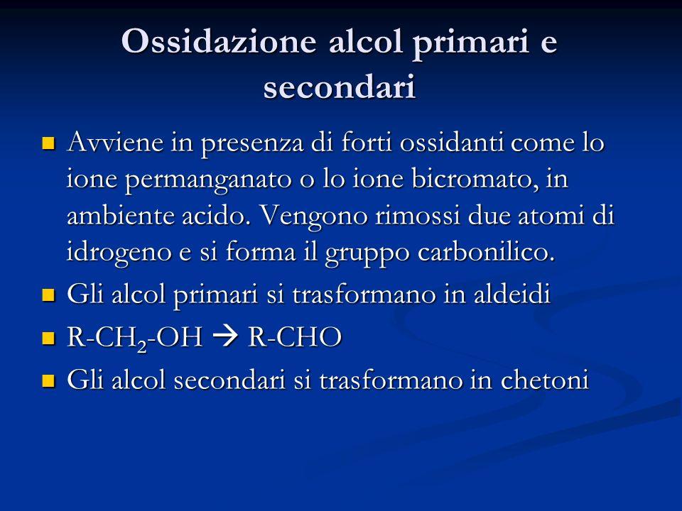 Ossidazione alcol primari e secondari Avviene in presenza di forti ossidanti come lo ione permanganato o lo ione bicromato, in ambiente acido. Vengono