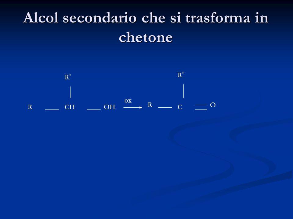 Alcol secondario che si trasforma in chetone CHOH R R R R C O ox