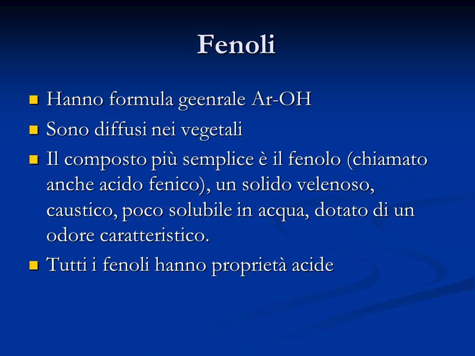Fenoli Hanno formula geenrale Ar-OH Hanno formula geenrale Ar-OH Sono diffusi nei vegetali Sono diffusi nei vegetali Il composto più semplice è il fen