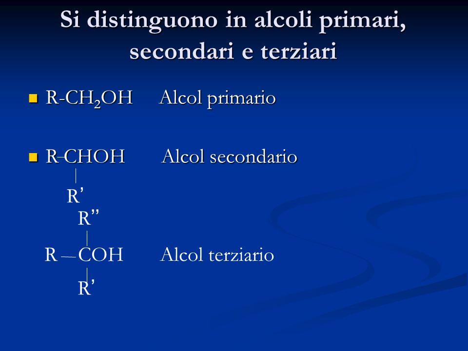 Si distinguono in alcoli primari, secondari e terziari R-CH 2 OH Alcol primario R-CH 2 OH Alcol primario R CHOH Alcol secondario R CHOH Alcol secondar