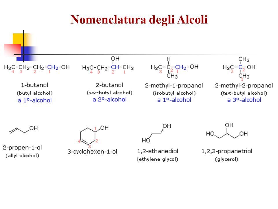 Il gruppo –OH è polare Il gruppo –OH è polare Gli alcoli formano legami a idrogeno Gli alcoli formano legami a idrogeno Tutti gli alcoli hanno una buona reattività Tutti gli alcoli hanno una buona reattività