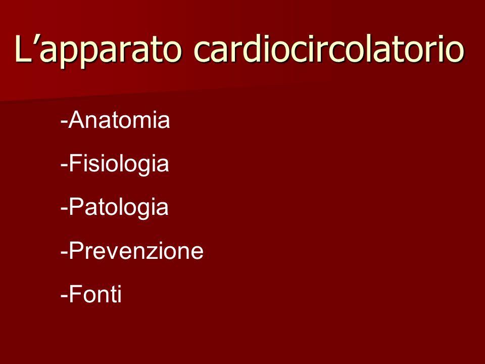 Lapparato cardiocircolatorio -Anatomia -Fisiologia -Patologia -Prevenzione -Fonti