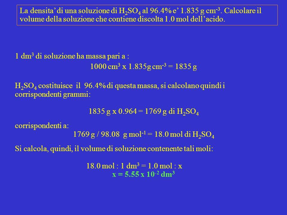 La densita di una soluzione di H 2 SO 4 al 96.4% e 1.835 g cm -3. Calcolare il volume della soluzione che contiene discolta 1.0 mol dellacido. 1 dm 3