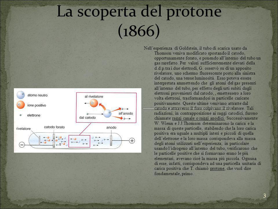 3 La scoperta del protone (1866) Nellesperienza di Goldstein, il tubo di scarica usato da Thomson veniva modificato spostando il catodo, opportunament