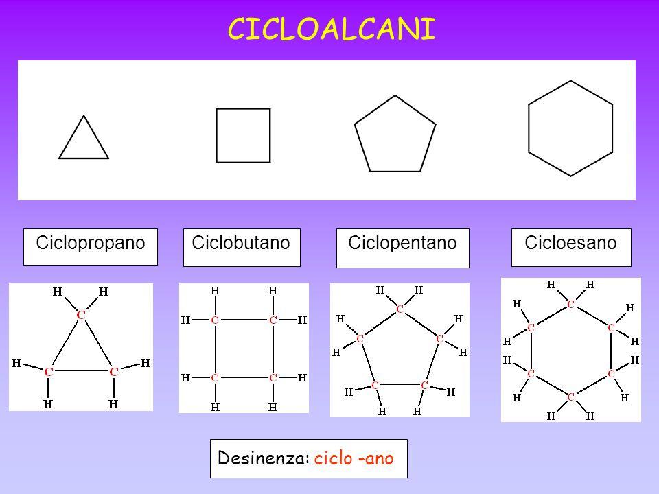 CICLOALCANI CiclopropanoCiclobutanoCiclopentanoCicloesano Desinenza: ciclo -ano