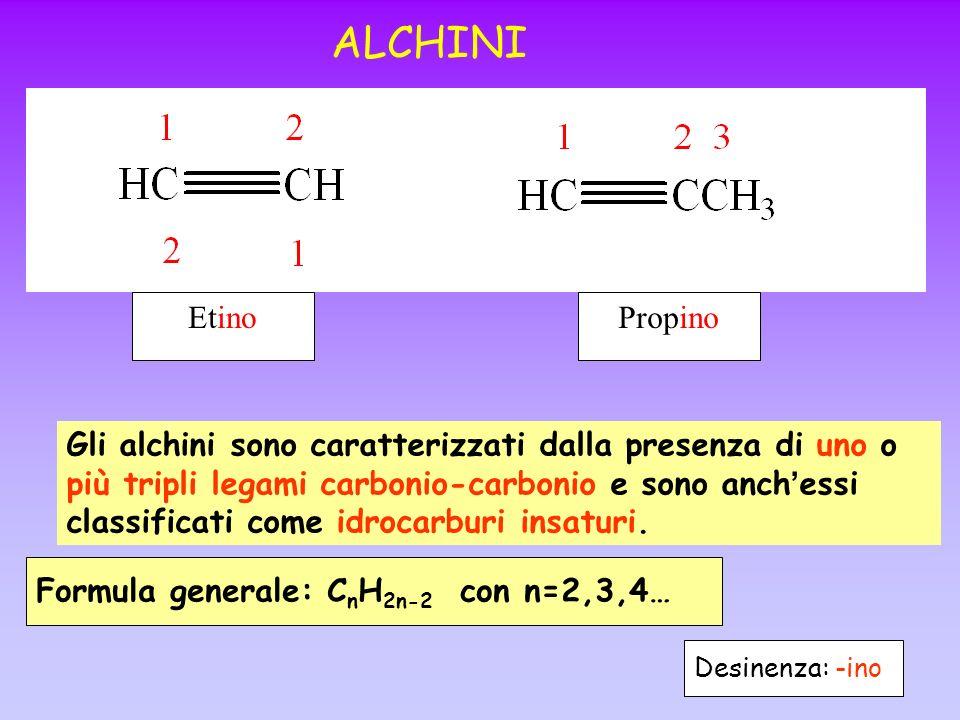 ALCHINI Gli alchini sono caratterizzati dalla presenza di uno o più tripli legami carbonio-carbonio e sono anch essi classificati come idrocarburi ins
