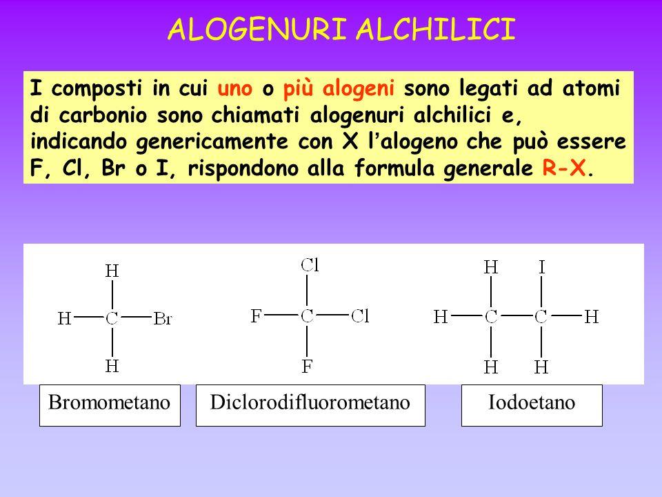 ALOGENURI ALCHILICI I composti in cui uno o più alogeni sono legati ad atomi di carbonio sono chiamati alogenuri alchilici e, indicando genericamente