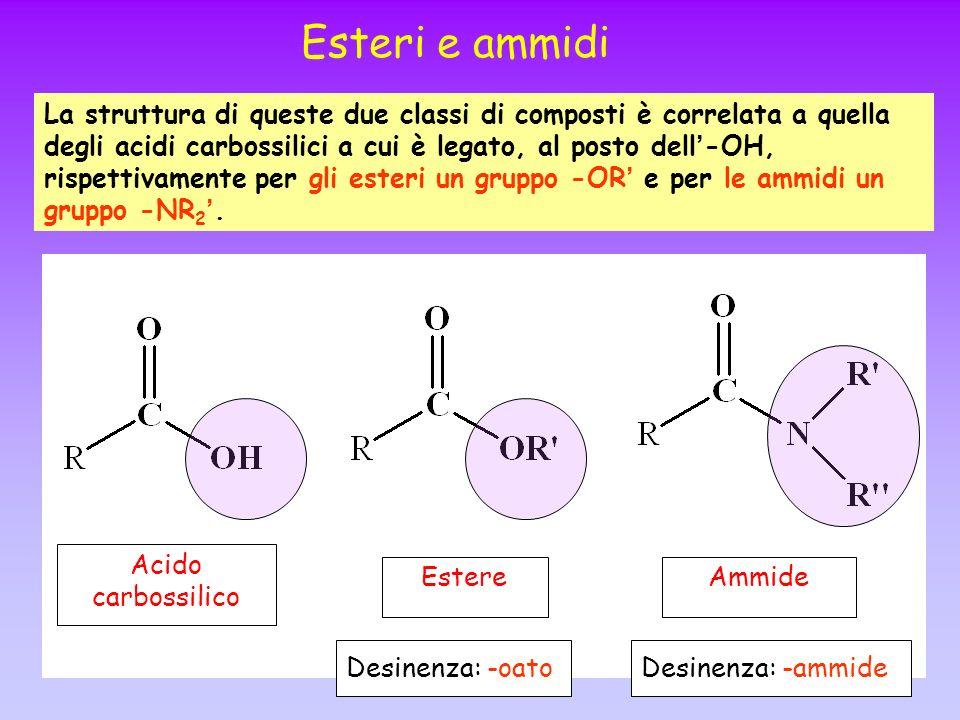 Esteri e ammidi La struttura di queste due classi di composti è correlata a quella degli acidi carbossilici a cui è legato, al posto dell -OH, rispett