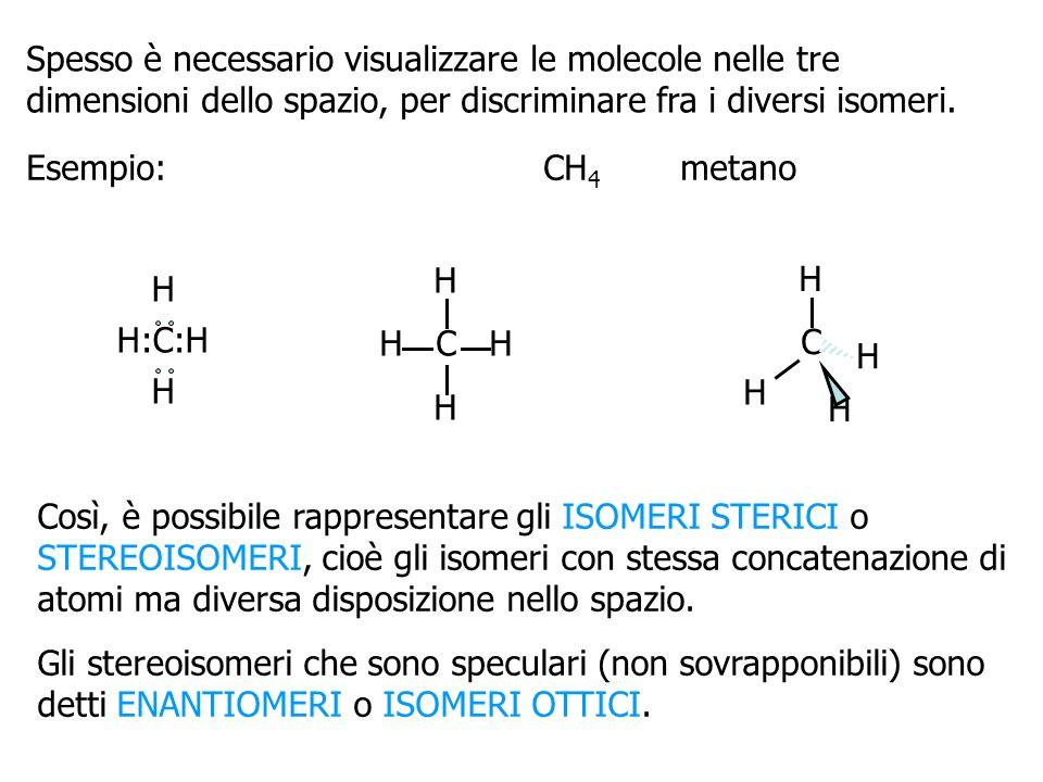 Spesso è necessario visualizzare le molecole nelle tre dimensioni dello spazio, per discriminare fra i diversi isomeri. Esempio:CH 4 metano H H:C:H H