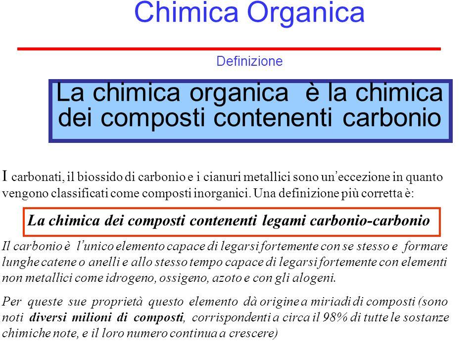 CHIMICA ORGANICA o Chimica dei composti del carbonio Formula molecolare o bruta Indica quali e quanti atomi formano la molecola Formula di struttura o razionale Indica i legami fra gli atomi e la disposizione nello spazio C 5 H 12 Idrocarburo saturo a 5 atomi di C CH 3 CH 2 CH 2 CH 2 CH 3 n-pentano