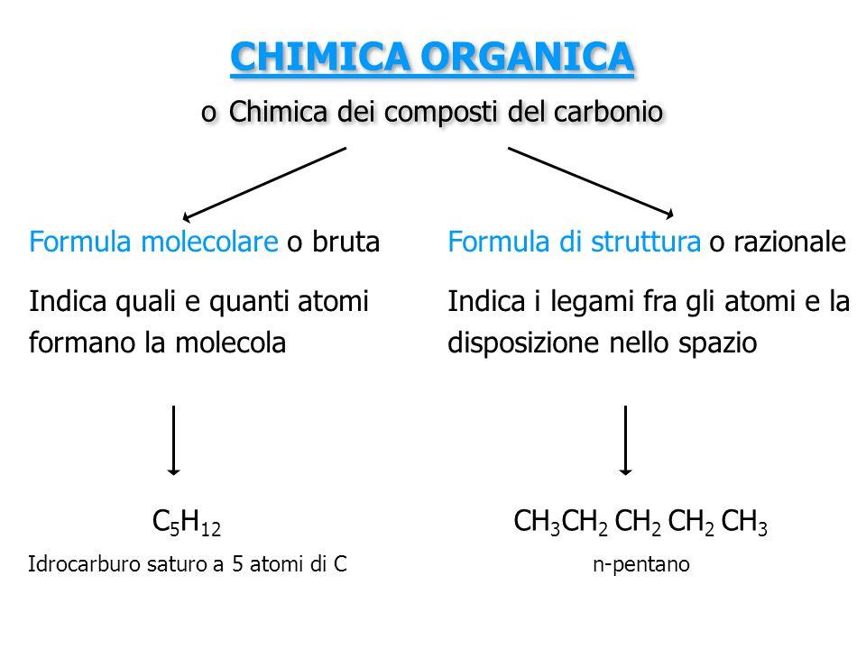 CHIMICA ORGANICA o Chimica dei composti del carbonio Formula molecolare o bruta Indica quali e quanti atomi formano la molecola Formula di struttura o