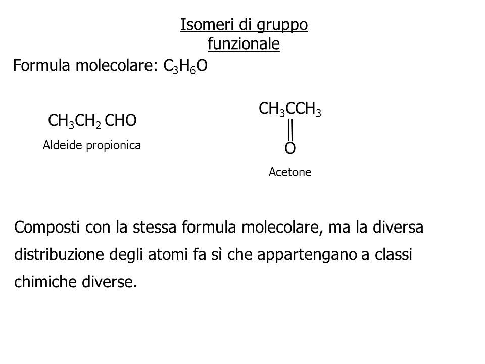 Isomeri di gruppo funzionale Formula molecolare: C 3 H 6 O CH 3 CH 2 CHO Aldeide propionica CH 3 CCH 3 O Acetone Composti con la stessa formula moleco