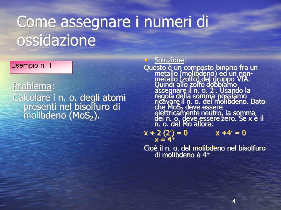 5 Come assegnare i numeri di ossidazione Problema: Assegnare i n.