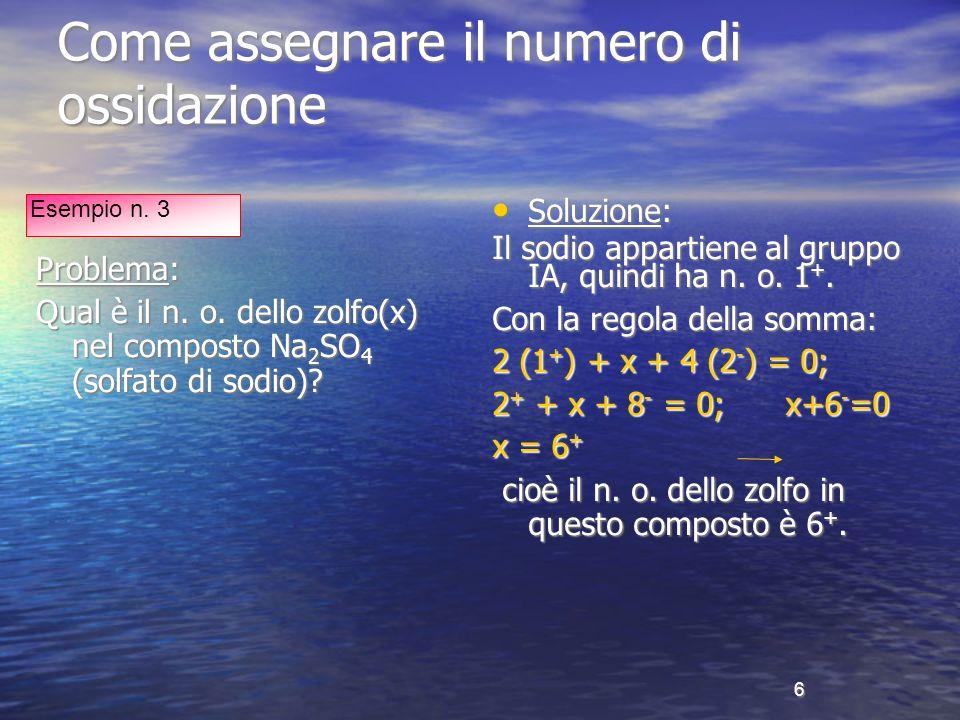 7 Come assegnare il numero di ossidazione Problema: Nellacetone (C 3 H 6 O) qual è il n.