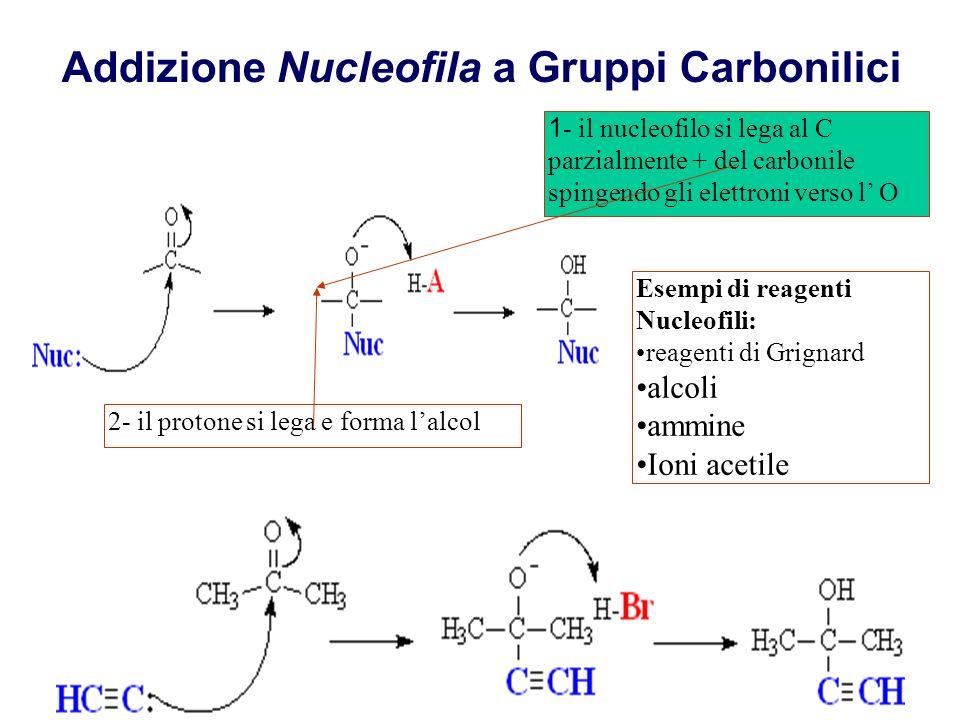 Addizione Nucleofila a Gruppi Carbonilici 1 - il nucleofilo si lega al C parzialmente + del carbonile spingendo gli elettroni verso l O 2- il protone