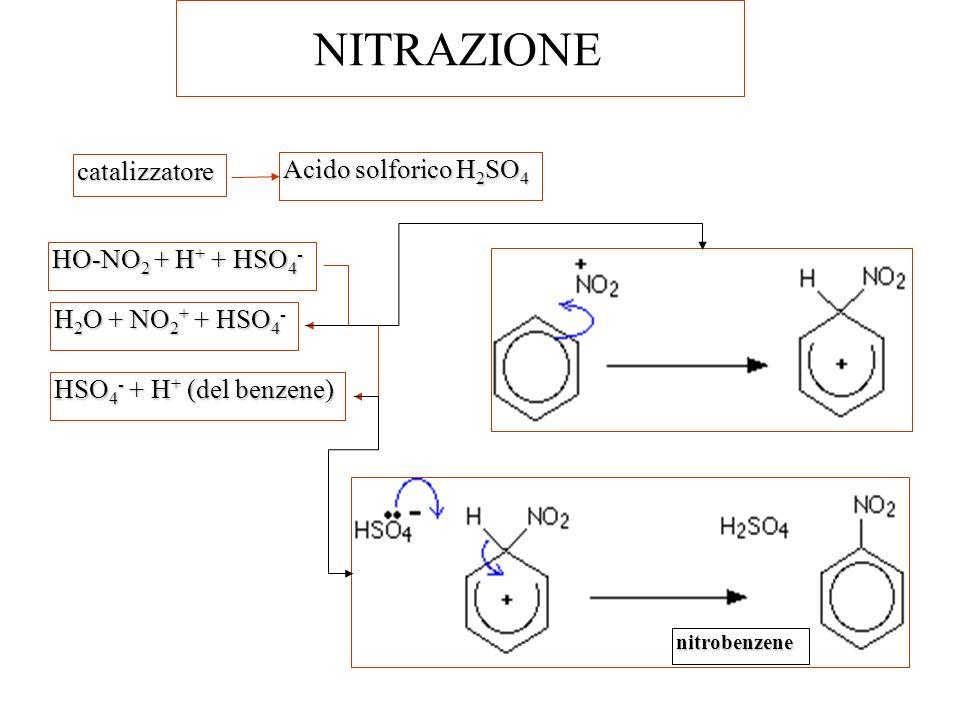 NITRAZIONE catalizzatore Acido solforico H 2 SO 4 HO-NO 2 + H + + HSO 4 - H 2 O + NO 2 + + HSO 4 - HSO 4 - + H + (del benzene) nitrobenzene