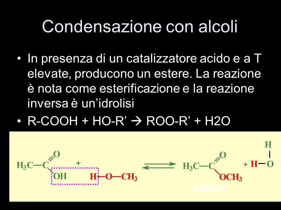 Condensazione con alcoli In presenza di un catalizzatore acido e a T elevate, producono un estere. La reazione è nota come esterificazione e la reazio